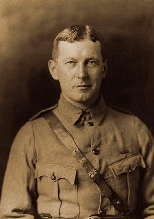 Lt. Col. John McCrae, World War I doctor and author of poem In Flanders Field. Portrait of John McCrae, ca 1914