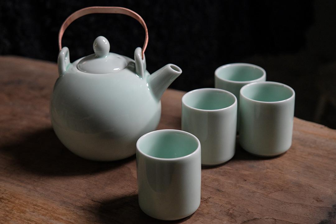Dehua Kiln Greenish Blue Celadon Tea Set